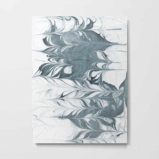Haru - spilled ink modern abstract marble painting indigo ink splash swirl ocean waves water sea Metal Print