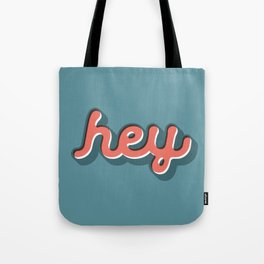 Hey Blue & Red Typography Print Funny Poster Letterpress Style Wall Decor Home Decor Tote Bag