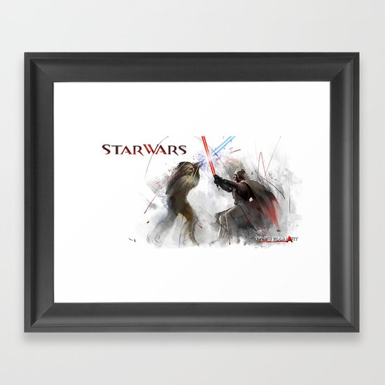Star wars duel  Framed Art Print