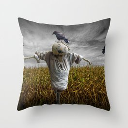 Scarecrow with Black Crows over a Cornfield Throw Pillow