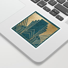 Art Deco glamour - teal and gold Sticker