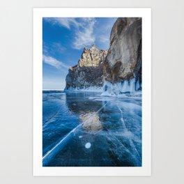 Blue Ice of the Lake Baikal Art Print