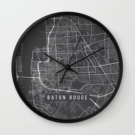 Baton Rouge Map, USA - Gray Wall Clock