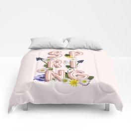 Rose Gold Spring Flower Blush Comforters