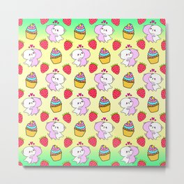 Cute happy cuddling funny Kawaii baby kittens, sweet red summer strawberries and colorful yummy cupcakes bright sunny yellow green design. Nursery decor. Metal Print