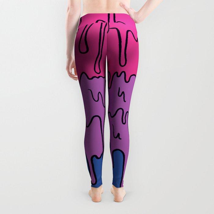 Pastel Kawaii Melting Bisexual Pride LGBTQ Design Leggings