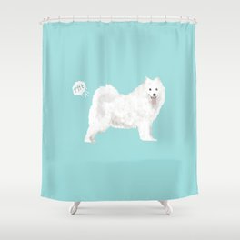 samoyed funny farting dog breed pure breed pet gifts Shower Curtain