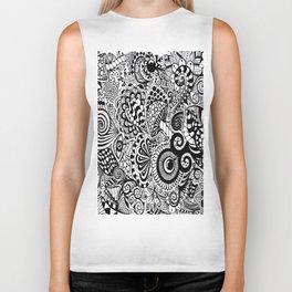 Mushy Madness doodle art Black and White Biker Tank