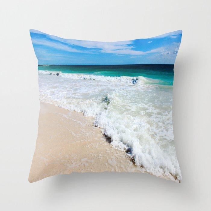 Tulum Waves Throw Pillow