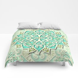 White cyan and yellow Beautiful Wedding Mandala Comforters