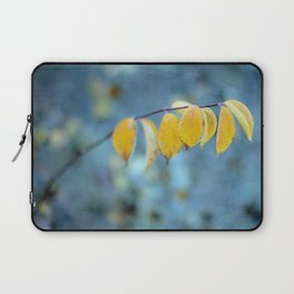 Yellow Leaves on Blue Laptop Sleeve