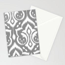 Ikat Damask Gray Stationery Cards