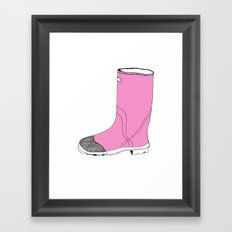 Whimisical Wellie in Pink Framed Art Print
