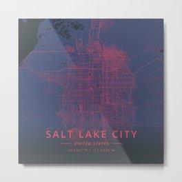 Salt Lake City, United States - Neon Metal Print