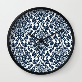 Damask Vintage Navy Blue and White Wall Clock