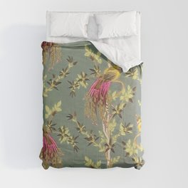 Luxury asian peacock and plants flowers pattern Vol.2 Comforters