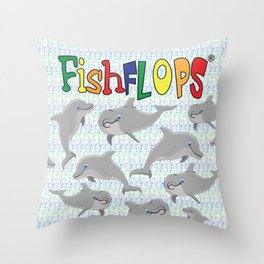 FishFlops Spinner the Dolphin Throw Pillow