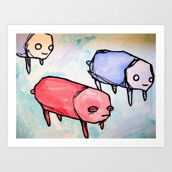herd of pups Art Print