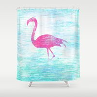 flamingo Shower Curtains featuring Flamingo by Inmyfantasia