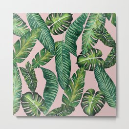 Jungle Leaves, Banana, Monstera II Pink #society6 Metal Print