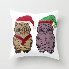 Santa Owl and Elf Owl Throw Pillow