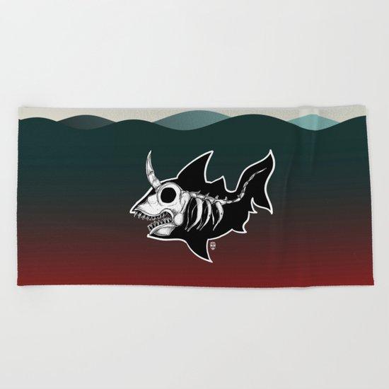 Dark Unicorn Shark Skeleton Beach Towel