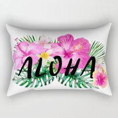 ALOHA - Tropical Flowers, Palm Leaves and Typography Rectangular Pillow