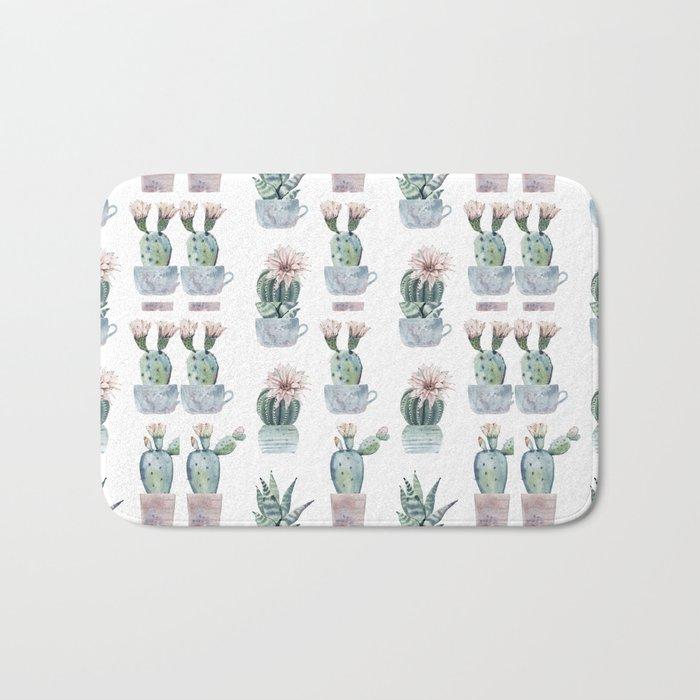 Girly Rose Cactus Pots Bath Mat