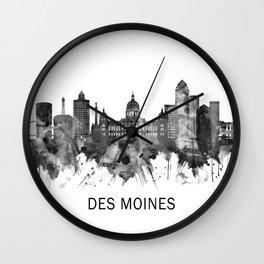 Des Moines Iowa Skyline BW Wall Clock