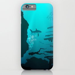 Beautiful coral reef and silhouettes of diver and school of fish in a blue sea iPhone Case