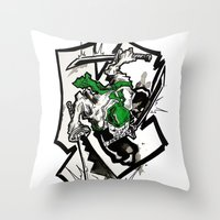 one piece Throw Pillows featuring One Piece - Zoro by RISE Arts