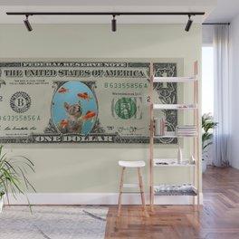One Dollar note animal cat kitten goldfishes Wall Mural
