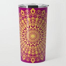 Gold yoga mandala Indian henna pattern Travel Mug