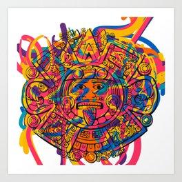 Aztec Disc Graffiti Abstract Pop Art Colourful Art Print