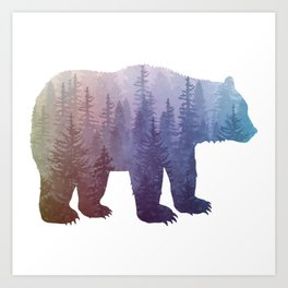 Misty Forest Bear - colorful rainbow Art Print