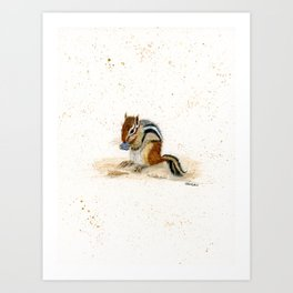 """Chippy"" Chipmunk - animal watercolor painting Art Print"