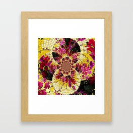 ABSTRACTED FUCHSIA-PINK HOLLYHOCKS GARDEN FLORA Framed Art Print