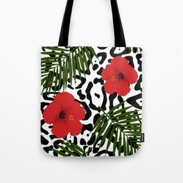 Red hibiscus and palm leaves seamless pattern Tote Bag