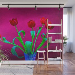 Red Tulip Flowers On Red Wall Mural
