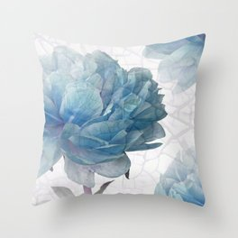 Blue Peony Throw Pillow