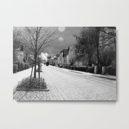 Steam train in the city Metal Print