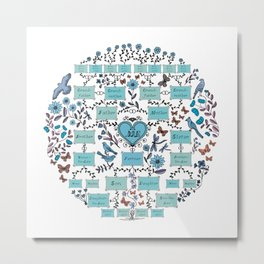Illustrated Family Tree, colored blue and turquoise, Genealogical Illustration of Ancestrors and Descendants Metal Print