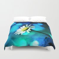 malachite Duvet Covers featuring Azurite Malachite Daisy  by minx267