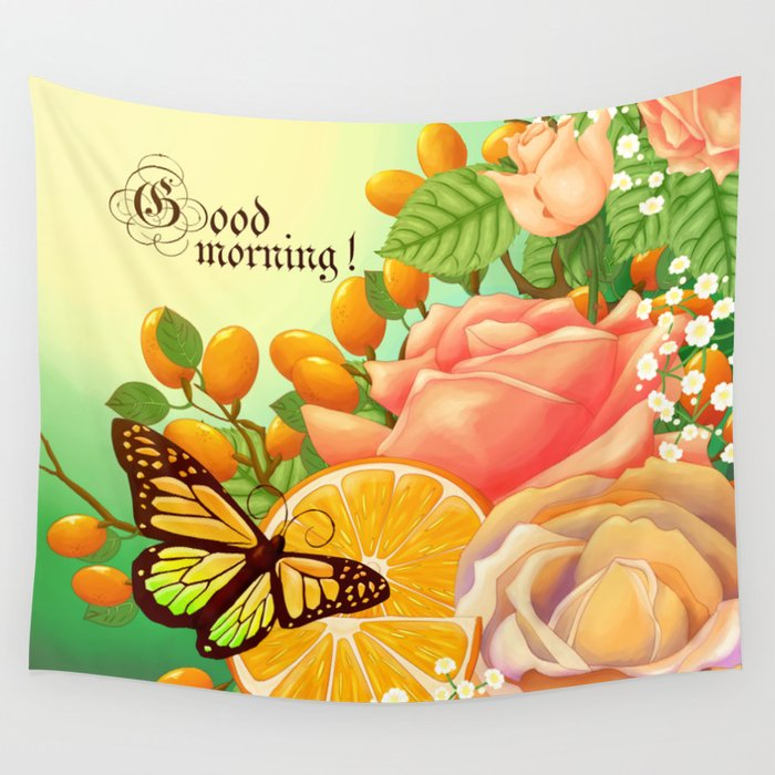 Full Bloom | Butterfly loves oranges Wall Tapestry