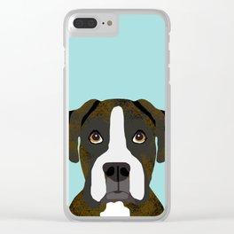 Brindle Boxer pet portrait cute dog lover rescue dog lover Boxer portrait dog breeds Clear iPhone Case