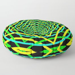 Diamonds in the Rounds Blacklight Neons Yellow Greens Floor Pillow
