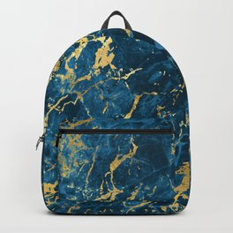 Breathtaking Blue and Glam Gold Faux Marble Pattern Backpack