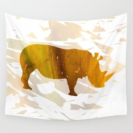 Colorful Art Rhino Abstract Yellow Wall Tapestry