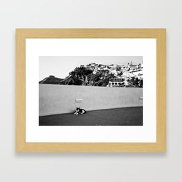 Santorini Cat Framed Art Print