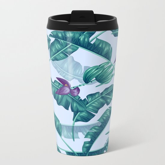 tropical flower Metal Travel Mug